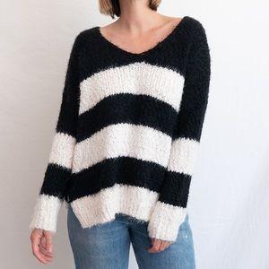 Super Soft B&W Striped Sweater
